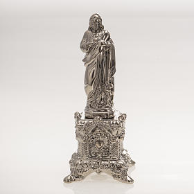 Ceramic statue, platinum colour, Sacred Heart of Jesus on throne s1