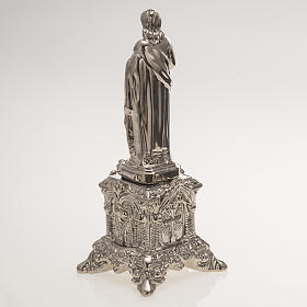 Ceramic statue, platinum colour, Sacred Heart of Jesus on throne s4