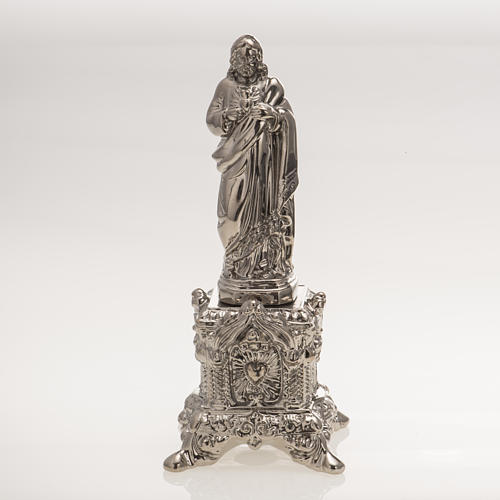 Ceramic statue, platinum colour, Sacred Heart of Jesus on throne 1