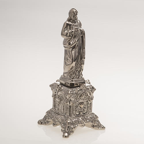Ceramic statue, platinum colour, Sacred Heart of Jesus on throne 2
