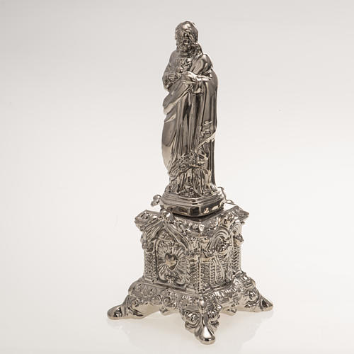 Ceramic statue, platinum colour, Sacred Heart of Jesus on throne 3