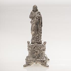 Imagem cerâmica platina Coração Sagrado de Jesus com suporte