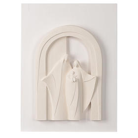 Holy Family wooden porch in clay Centro Ave 40,5 cm s1
