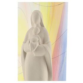 Madonna con Bambino argilla sfondo colorato 30 cm s2