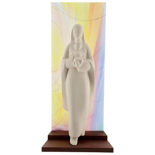 Madonna con Bambino argilla sfondo colorato 30 cm 1