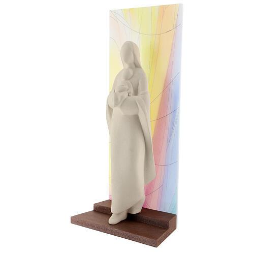 Madonna con Bambino argilla sfondo colorato 30 cm 3