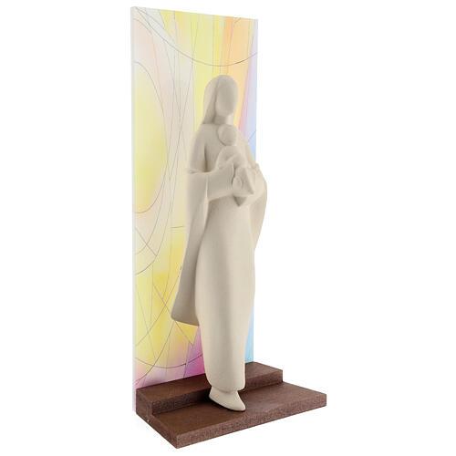 Madonna con Bambino argilla sfondo colorato 30 cm 4