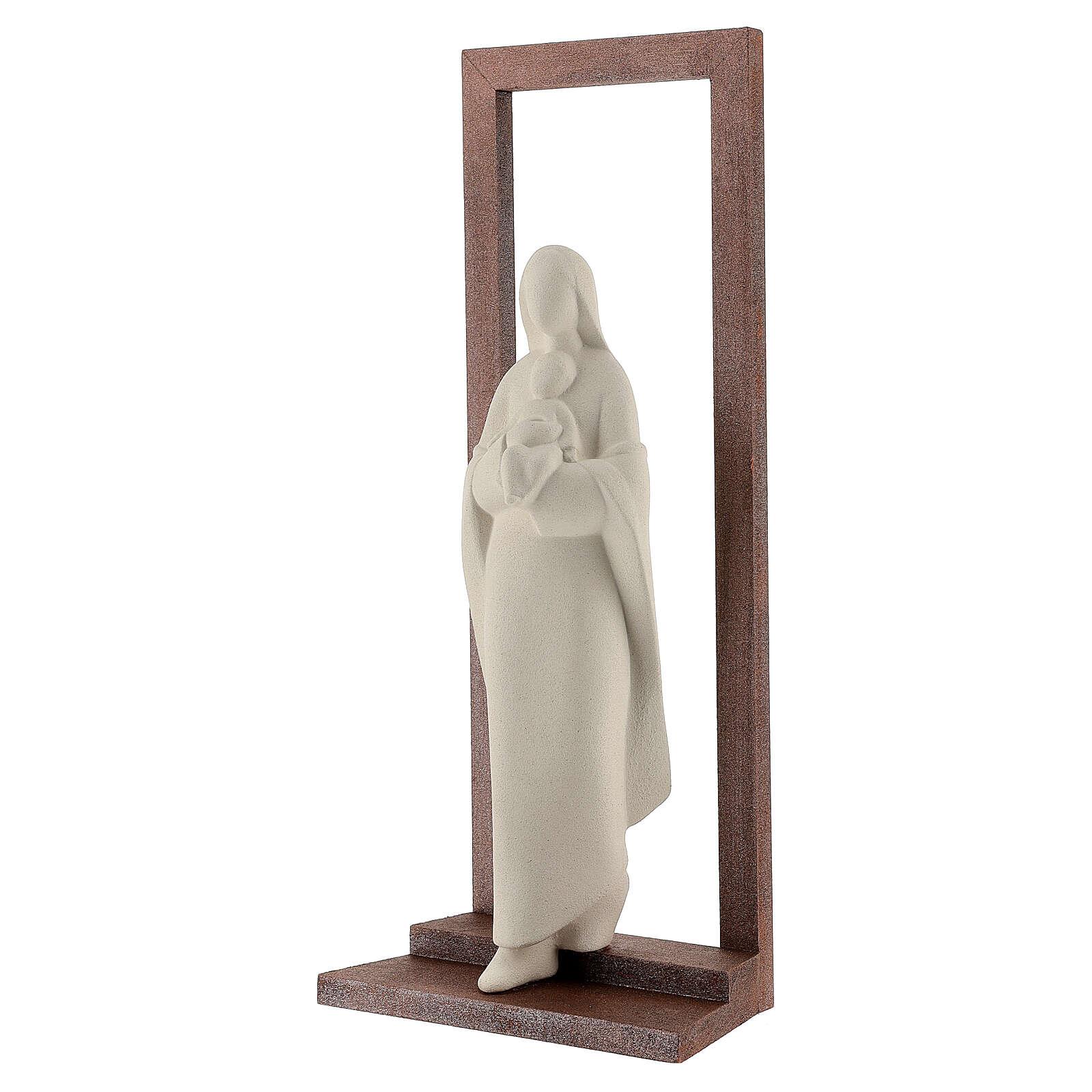 Virgen con Niño arcilla y marco 32 cm 4