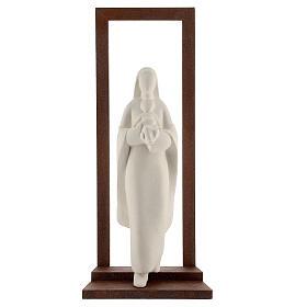 Virgen con Niño arcilla y marco 32 cm s1