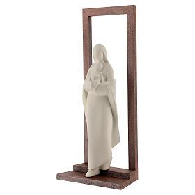 Virgen con Niño arcilla y marco 32 cm s3