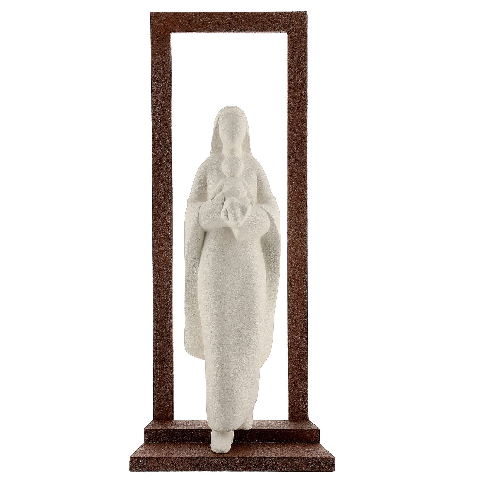 Mary with Baby Jesus statue, clay with wooden frame 32 cm 4