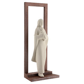 Mary with Baby Jesus statue, clay with wooden frame 32 cm s4