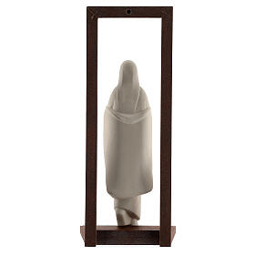 Mary with Baby Jesus statue, clay with wooden frame 32 cm s5