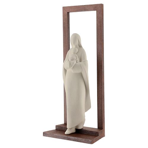 Mary with Baby Jesus statue, clay with wooden frame 32 cm 3