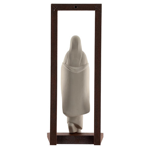 Mary with Baby Jesus statue, clay with wooden frame 32 cm 5