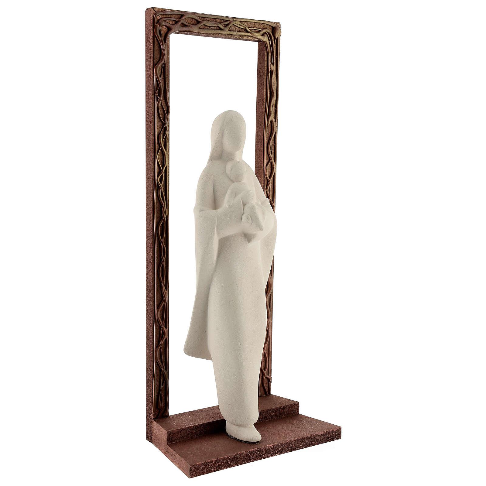 Cornice decorata con statua Madonna e Bambino 32 cm 4