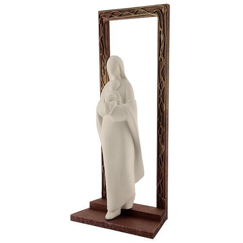 Cornice decorata con statua Madonna e Bambino 32 cm 3