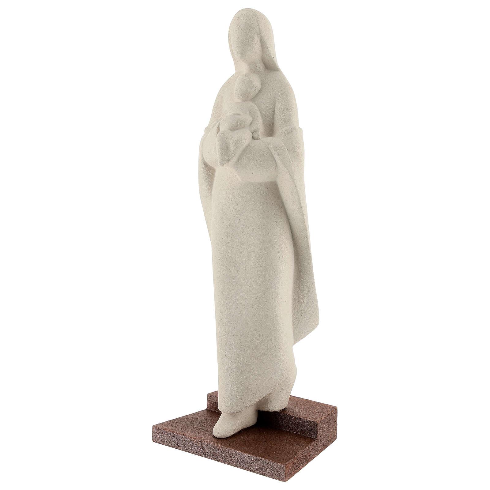 Virgen con Niño con escalón arcilla 25 cm 4