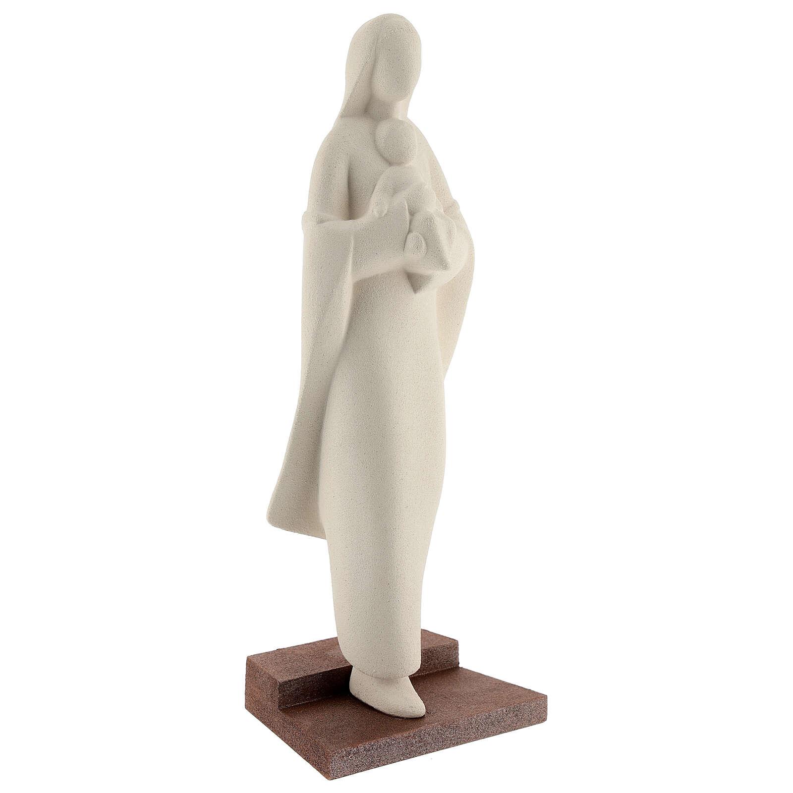 Madonna con bambino su scalino argilla 25 cm 4