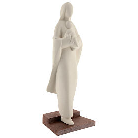 Madonna con bambino su scalino argilla 25 cm s4