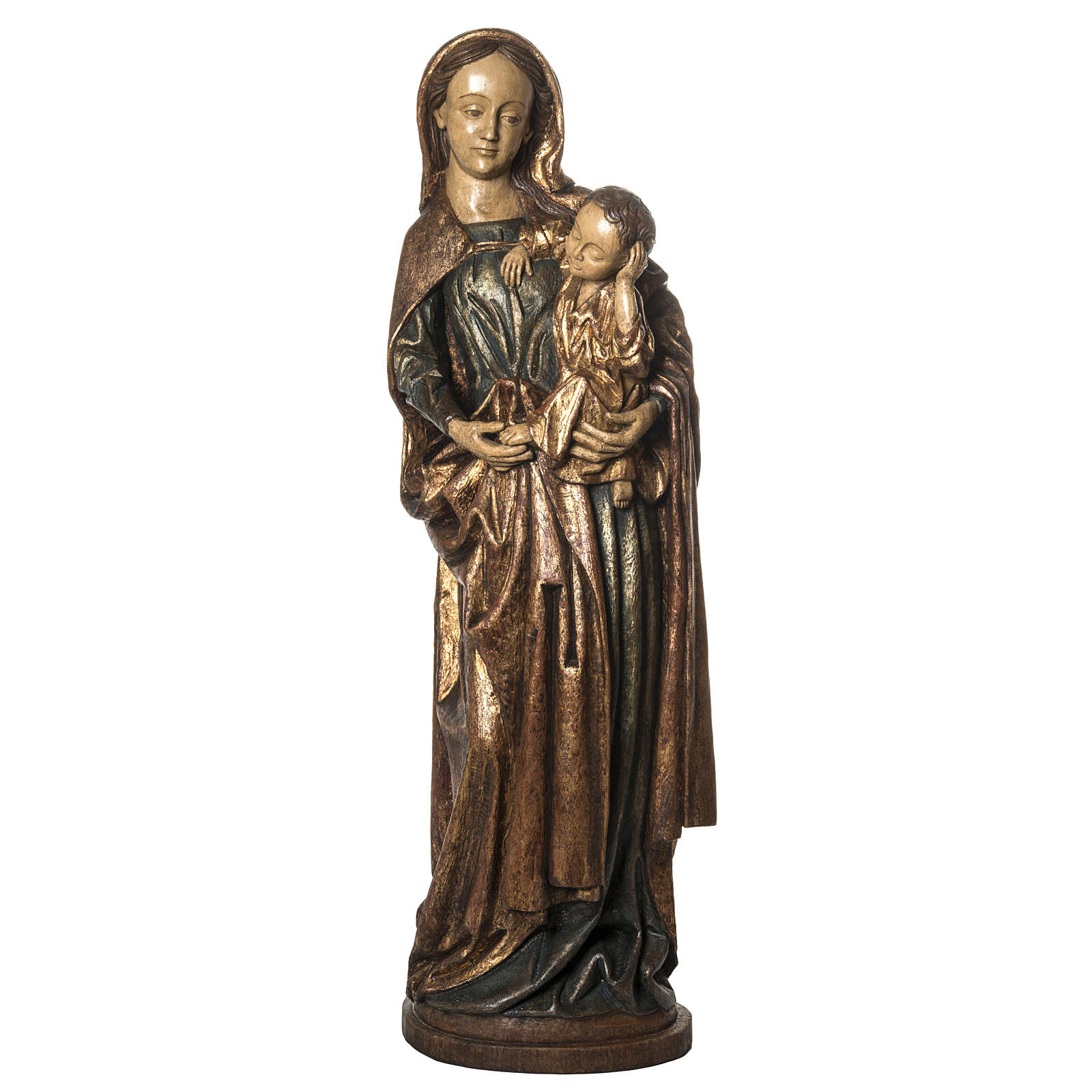 Our Lady of Boquen in gold finishing painted wood 145 cm Bethlee 4