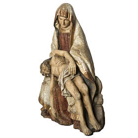 Gran Pietà in old finishing painted wood 110 cm, Bethlehe s3