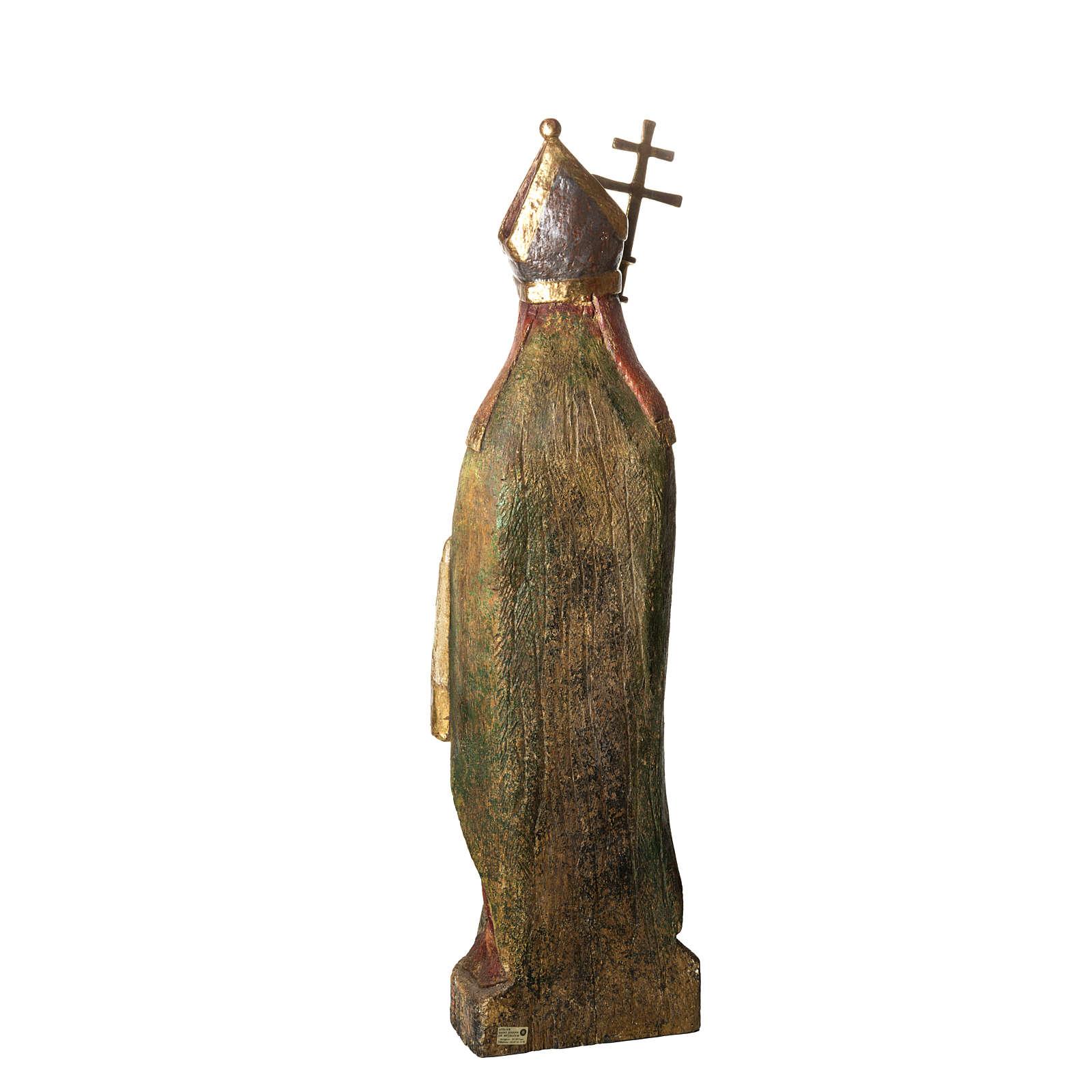 Saint Evêque 95 cm legno dipinto Bethléem 4