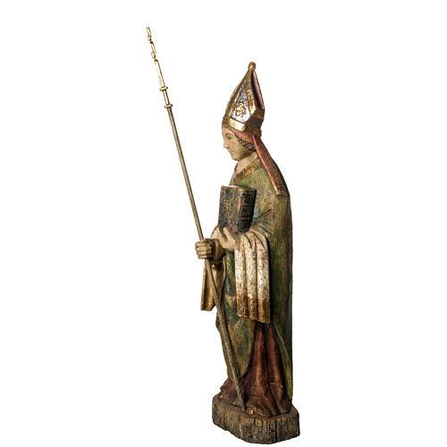 Saint Evêque 95 cm legno dipinto Bethléem 3