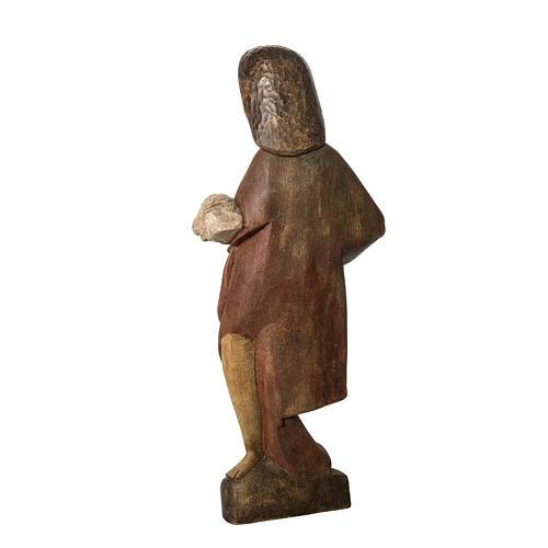 Saint John the Babtist statue, 89cm in painted wood, Bethléem 4