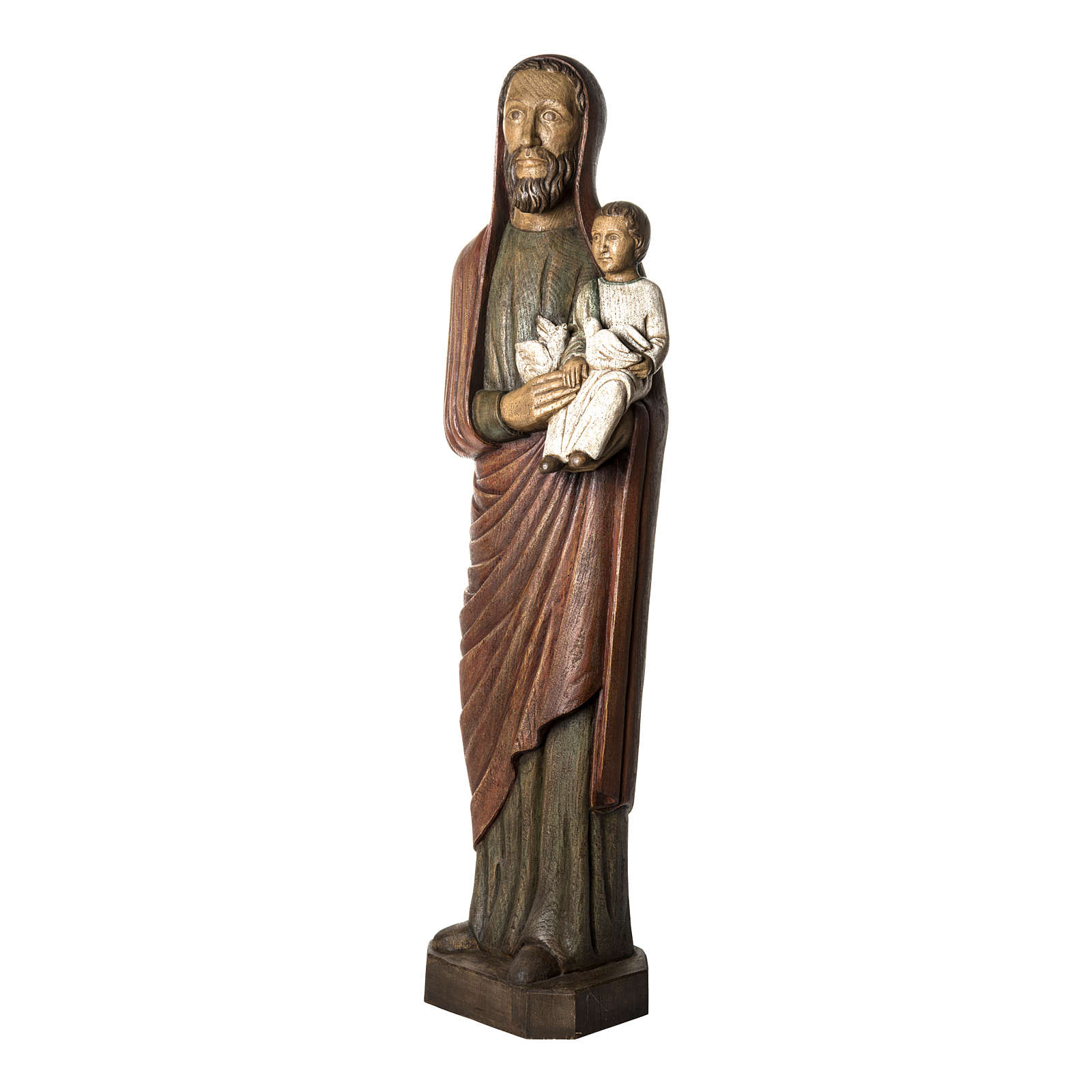 Saint Joseph with baby and dove statue in wood, 123 cm 4