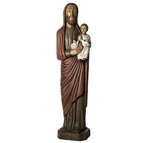 Saint Joseph with baby and dove statue in wood, 123 cm s1