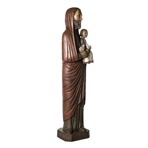 San Giuseppe con bimbo e colomba 123 cm legno 2