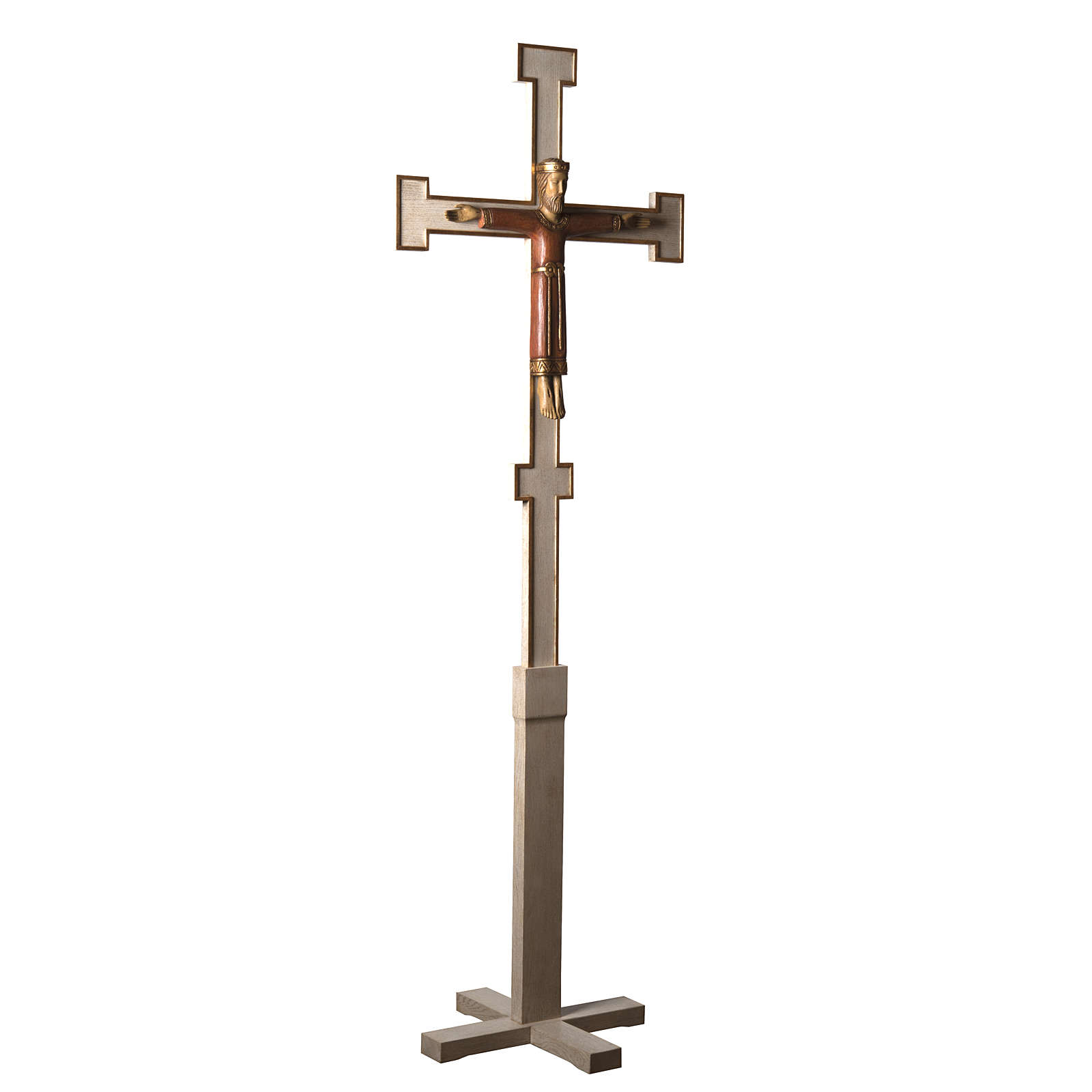 Christ Prêtre sur croix et trépied 2m bois Bethleem 4