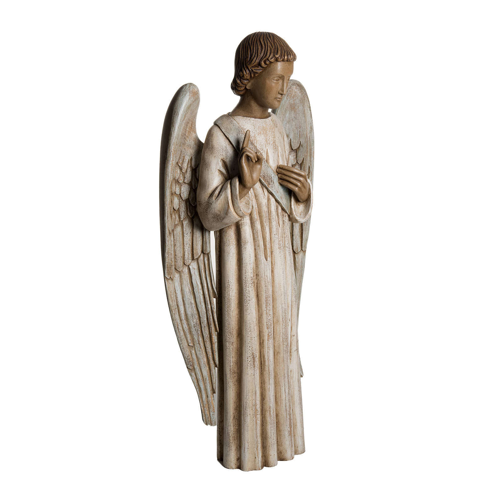 Annunciation Angel statue in painted Bethléem wood 100cm 4