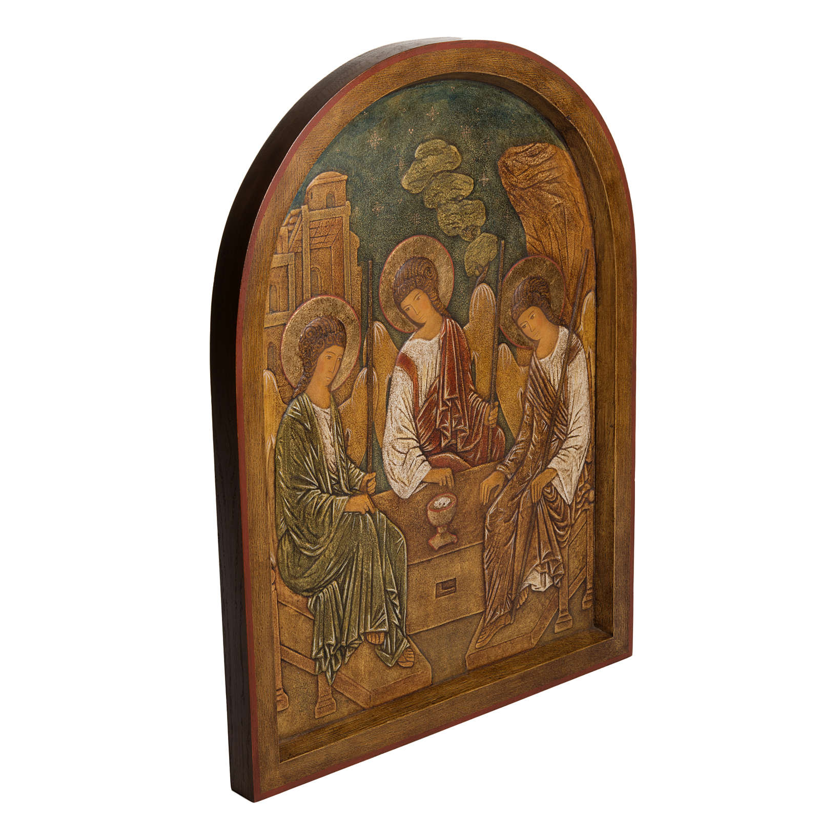 Holy Trinity Bas-relief in painted Bethléem wood 62cm 4