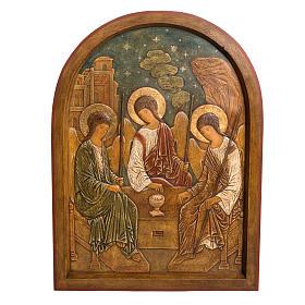 Holy Trinity Bas-relief in painted Bethléem wood 62cm s1