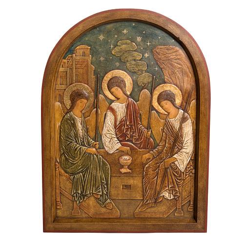 Holy Trinity Bas-relief in painted Bethléem wood 62cm 1