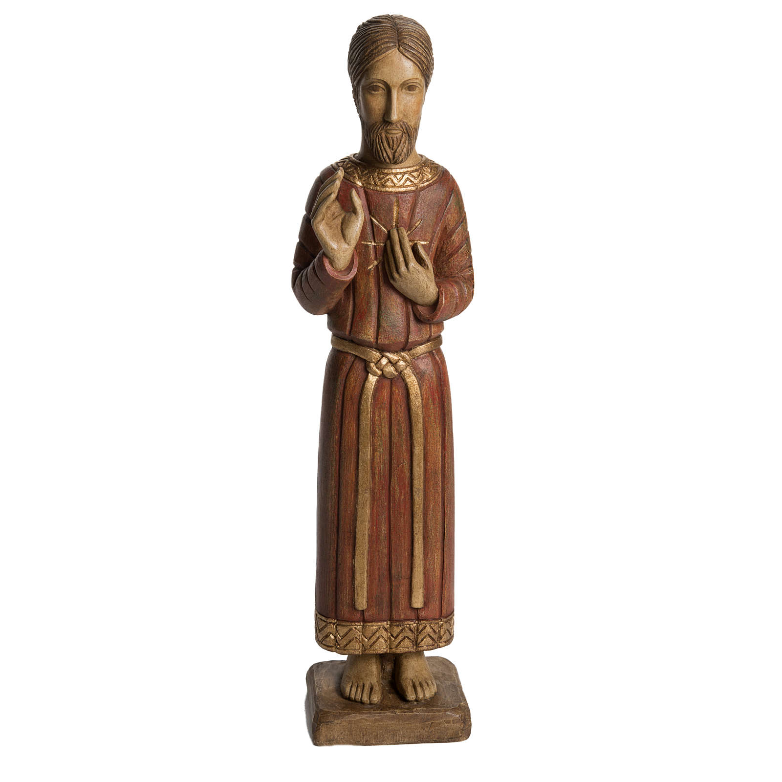 Sacred Heart of Jesus statue, Gothic, in panted Bethléem wood 5 4