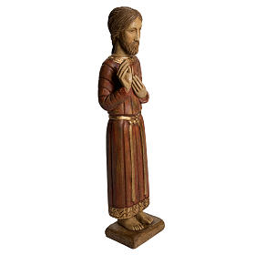 Sacred Heart of Jesus statue, Gothic, in panted Bethléem wood 5 s2