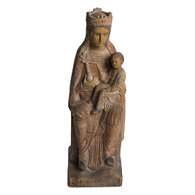 Hand painted wooden statues: Virgin of Solsona statue in painted Bethléem wood, antique fini
