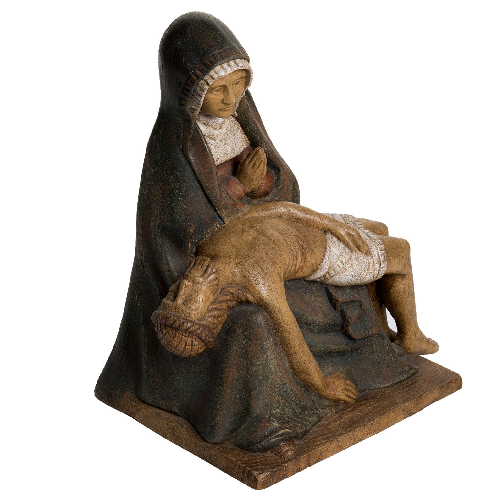 Pietà Bethléem, statue in painted wood, 30 cm 4