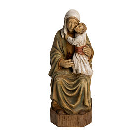 Hand painted wooden statues: Spanish Virgin statue in painted Bethléem wood, 27 cm