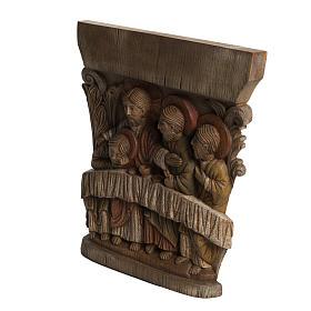 Last Supper Bas-relief in painted Bethléem wood, 40cm s3