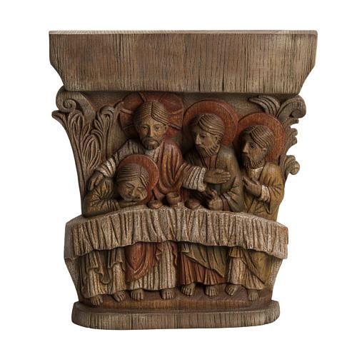 Last Supper Bas-relief in painted Bethléem wood, 40cm 1