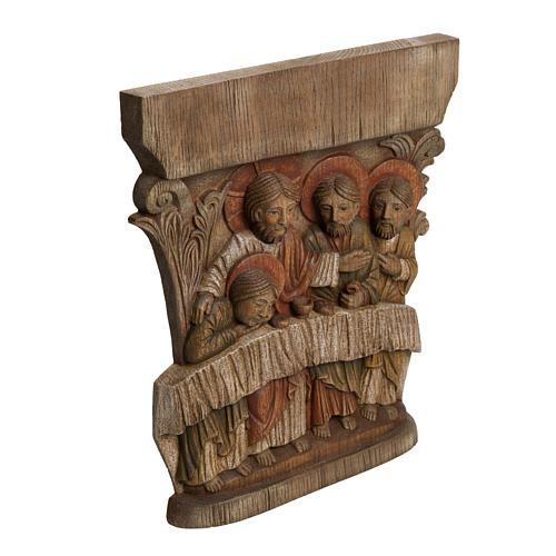 Last Supper Bas-relief in painted Bethléem wood, 40cm 2
