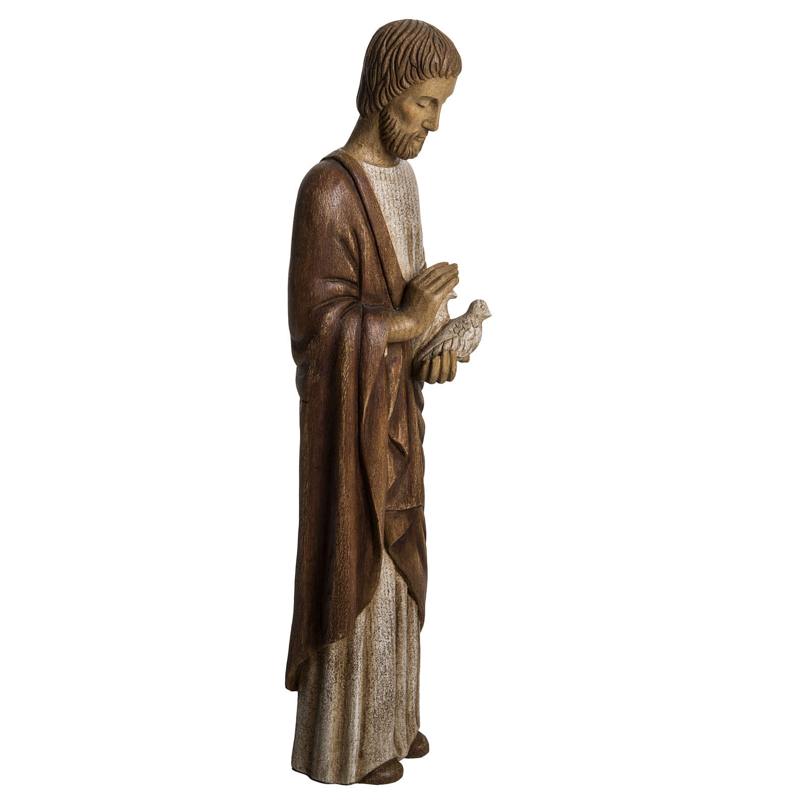 Saint Joseph with dove statue in wood, 60 cm 4