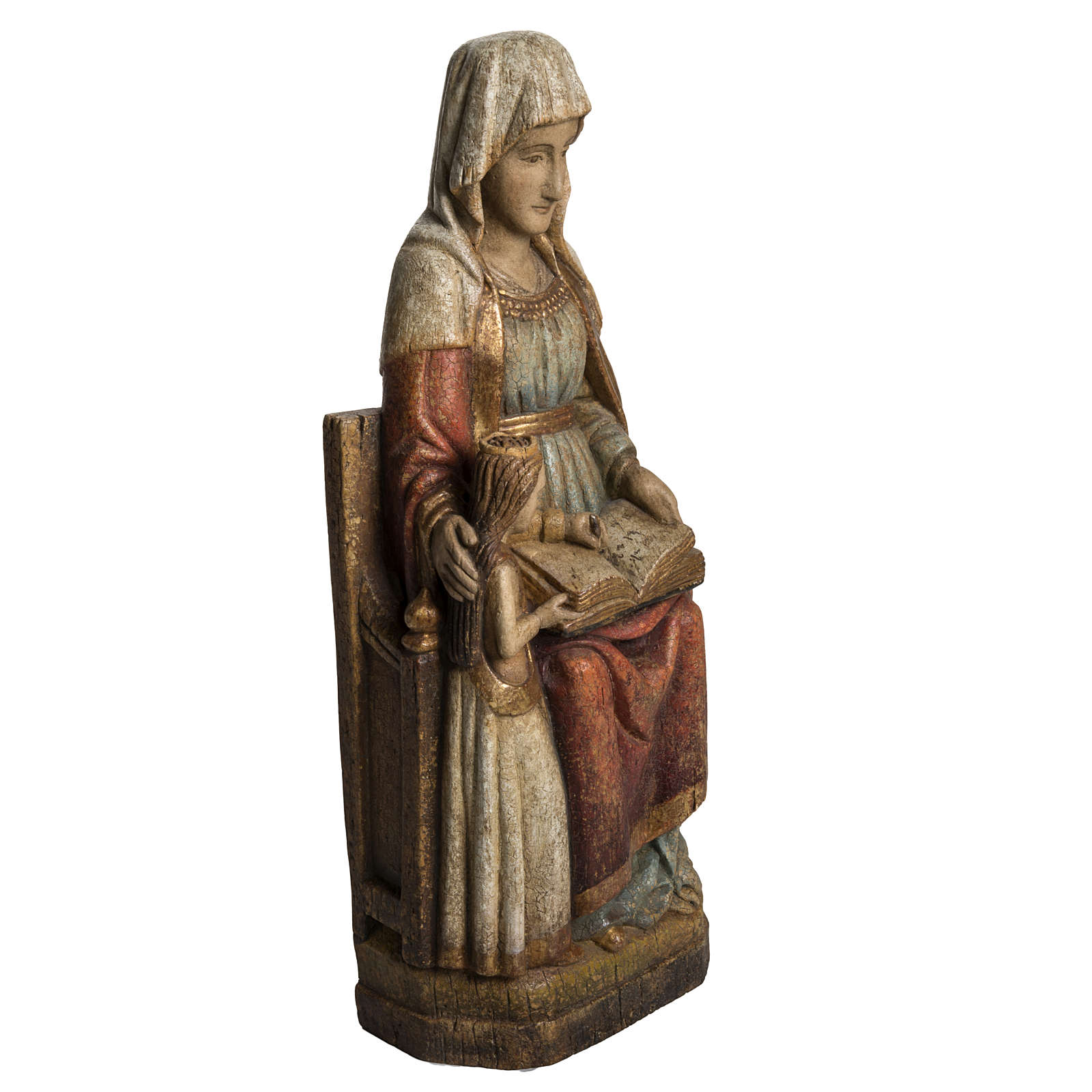 Saint Anne and young Virgin Mary statue, painted wood, antique 4