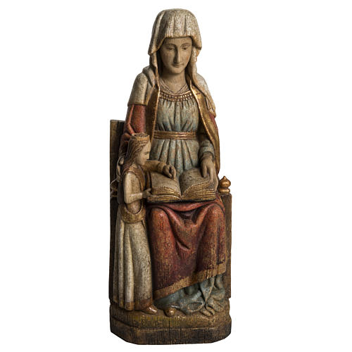 Saint Anne and young Virgin Mary statue, painted wood, antique 1