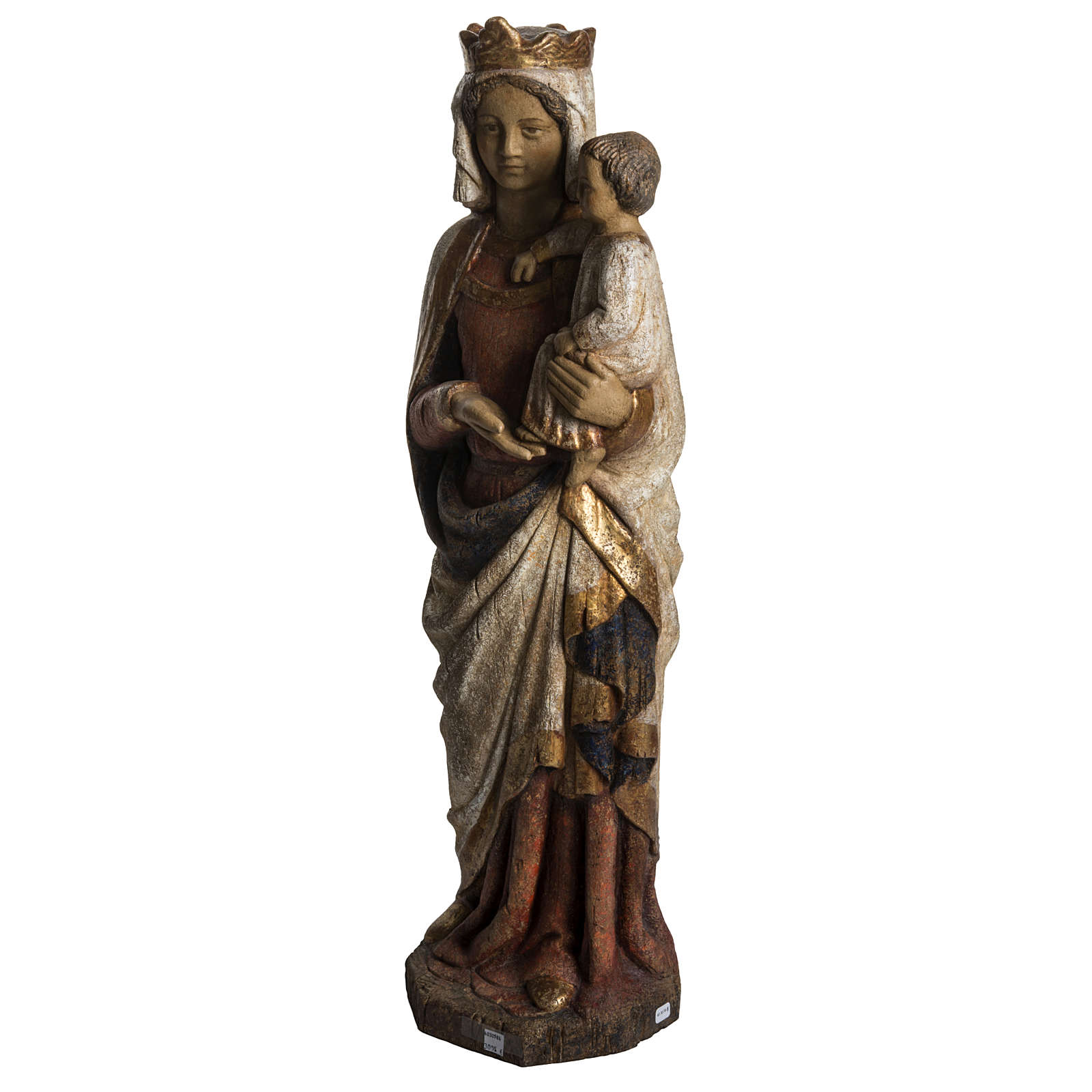 Virgin Mary and baby Jesus statue in painted wood, antique finis 4