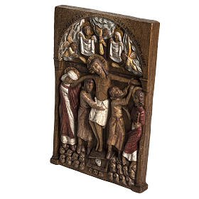 Virgin Mary and baby Jesus statue in painted wood, antique finis s2